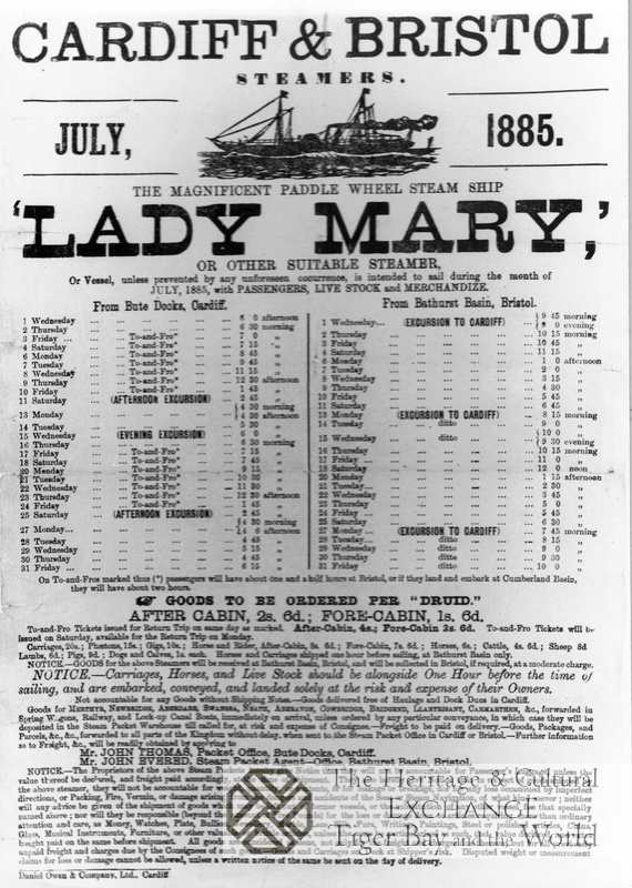 Photo of steamer timetable