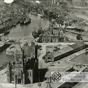 Aerial View of Cardiff Docks with Pierhead building in foreground
