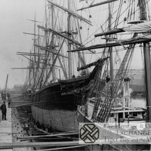 Photo of sailing ships in dry dock
