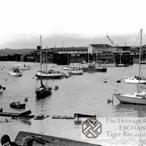 Cardiff Bay with moored boats